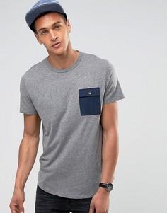 Футболка с контрастным карманом и асимметричным краем Esprit - Серый