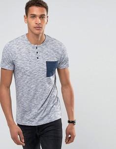 Меланжевая футболка хенли с контрастным карманом Esprit - Темно-синий