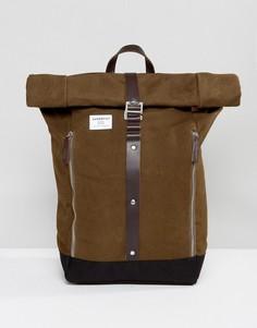 Рюкзак из вощеной хлопковой парусины Sandqvist Rolf - Зеленый