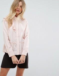 Асимметричная блузка с оборками ASOS - Розовый