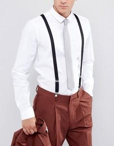 Черные подтяжки в винтажном стиле ASOS WEDDING - Черный