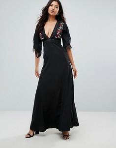Платье макси с вышивкой Glamorous - Черный