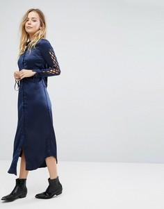 Платье-рубашка со шнуровкой на рукавах Glamorous - Темно-синий