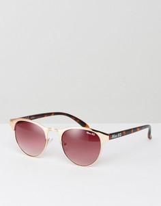 Солнцезащитные очки с круглой оправой персикового цвета Miss KG - Бежевый