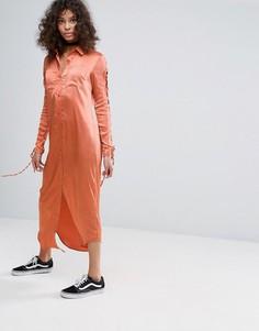 Платье-рубашка со шнуровкой на рукавах Glamorous - Коричневый