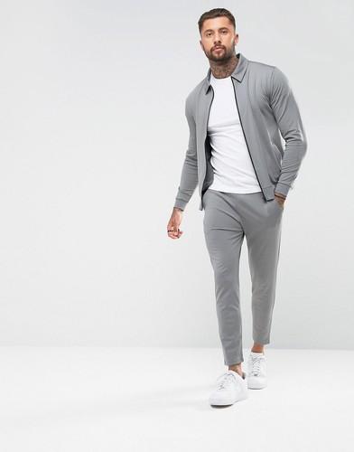 Облегающие джоггеры и куртка Харрингтон ASOS - Серый