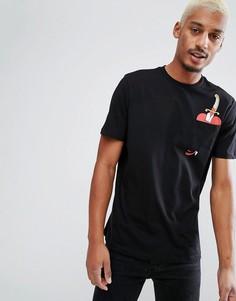 Свободная футболка с принтом и карманом ASOS Halloween - Черный