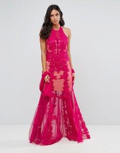 Кружевное платье макси с завязкой на шее Forever Unique - Розовый