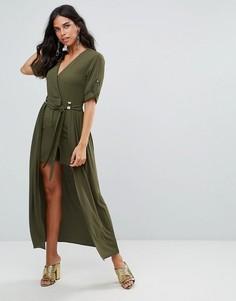 Платье макси с запахом и подкладкой мини Forever Unique - Зеленый