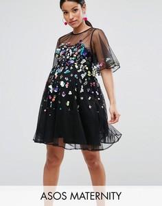 Сетчатое платье мини с отделкой пайетками ASOS Maternity - Черный
