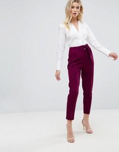 Широкие брюки со складками и D-образными кольцами ASOS Tailored - Фиолетовый