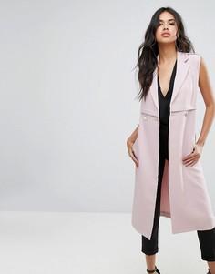 Двубортная куртка без рукавов Boohoo - Розовый