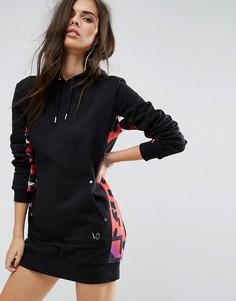 Удлиненное платье-худи со звериным принтом на вставке Versace Jeans - Черный