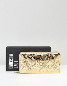 Золотистый кошелек с логотипом Love Moschino - Золотой
