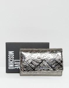 Серебристый кошелек с логотипом Love Moschino - Серебряный