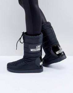 Зимние сапоги с логотипом Love Moschino - Черный