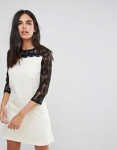 Асимметричное платье-туника с кружевными рукавами Paper Dolls - Белый