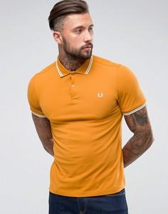 Облегающая футболка-поло горчичного цвета с контрастным воротником Fred Perry - Рыжий
