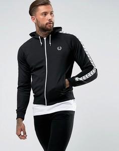 Черная спортивная куртка с капюшоном и лентой Fred Perry Sports Authentic - Черный