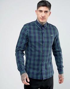 Рубашка в крупную шотландскую клетку Fred Perry - Темно-синий