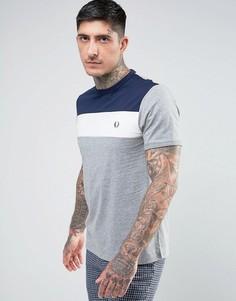 Серая меланжевая футболка колор блок в спортивном стиле Fred Perry - Серый
