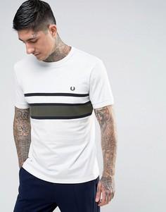 Белая футболка слим в полоску с логотипом на груди Fred Perry - Белый