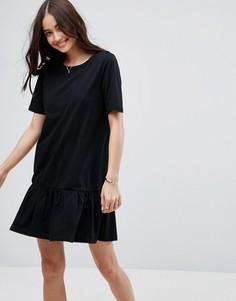 Платье-футболка мини с асимметричным краем ASOS - Черный