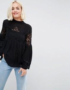Блузка с кружевными вставками Deby Debo Delane - Черный
