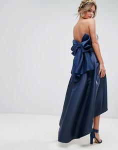 Платье миди бандо с бантом сзади Chi Chi London - Темно-синий