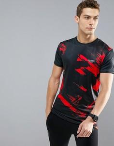 Черная обтягивающая футболка с красным принтом Muscle Monkey - Черный
