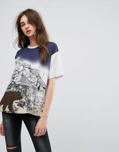 Свободная футболка с принтом медведя в стиле ретро ASOS - Серый
