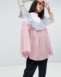 Оверсайз-рубашка в разноцветную полоску с оборкой ASOS WHITE - Мульти