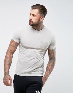 Бежевая футболка из смешанного льна с карманом ASOS - Бежевый