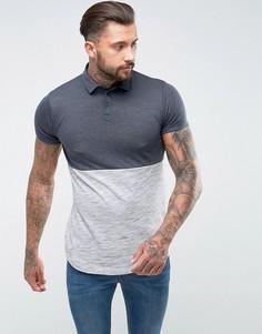 Длинная фактурная футболка-поло с асимметричным краем ASOS - Серый