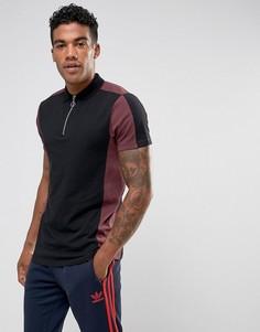 Черная футболка-поло с контрастными вставками и воротником на молнии ASOS - Черный