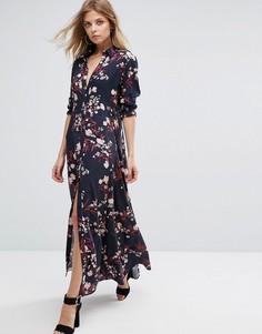 Платье-рубашка макси с цветочным принтом Y.A.S - Мульти