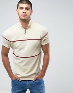 Бежевая махровая футболка с молнией и кантом ASOS - Бежевый