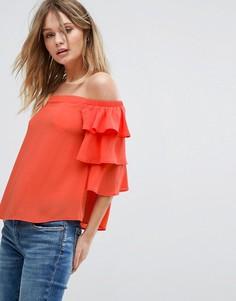 Топ с открытыми плечами и ярусной отделкой New Look - Оранжевый