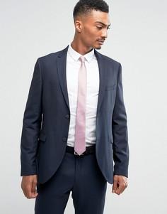 Облегающий фактурный пиджак Jack & Jones - Темно-синий