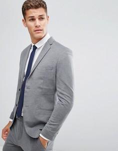 Трикотажный премиум-пиджак узкого кроя Jack & Jones - Серый