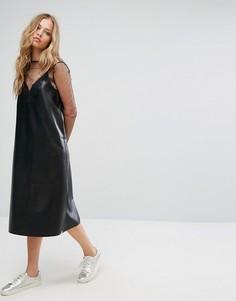 Платье из искусственной кожи с кружевной отделкой Suncoo - Черный