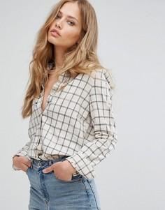 Рубашка в клетку с отделкой камнями Suncoo - Белый