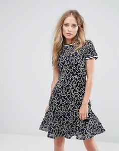 Платье с вышивкой Supertrash Denon - Темно-синий