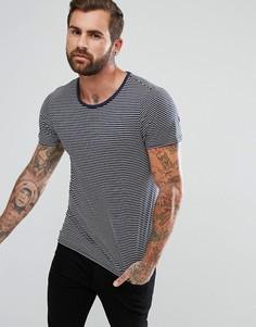 Темно-синяя футболка с карманом в полоску Lee Jeans - Темно-синий