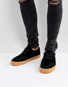 Замшевые кроссовки-криперы с резиновой подошвой T.U.K - Черный TUK