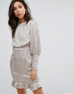 Платье мини с пышным рукавом на манжете Misha Collection - Серый