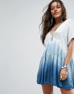 Свободное платье мини с принтом тай-дай Free People Sun Up - Синий