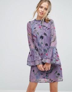 Свободное платье с цветочным принтом и кружевной отделкой Little Mistress - Мульти