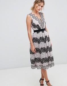 Платье миди из контрастного кружева Little Mistress - Мульти