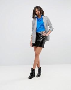 Виниловая мини-юбка Miss Selfridge - Черный